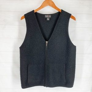 Style Co Wool Vest M Solid Black Textured Zip